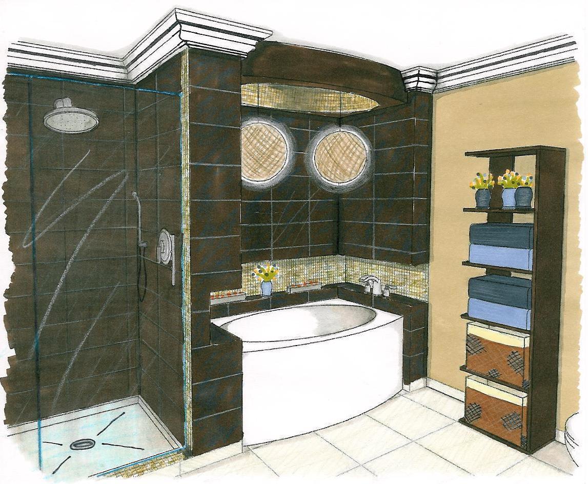 Croquis salle de bains ren guillemette r novations - Croquis de salle de bain ...